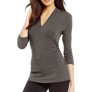 Vince Camuto Heather Gray side-ruched top NWT XL